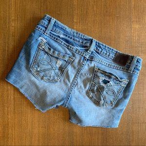 BKE Distressed Stella Cut off jean shorts